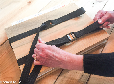 Plant press straps in use