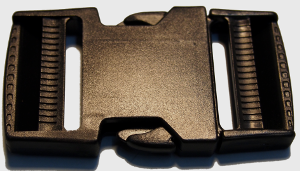1.5 inch black side release double adjust buckle